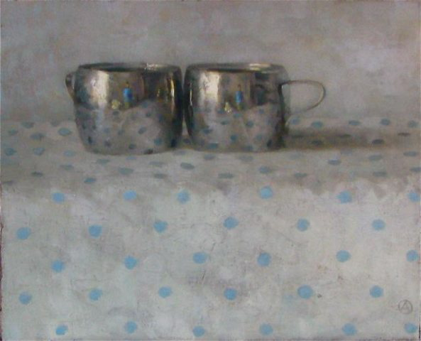 Two Silver Cups on Blue Dots
